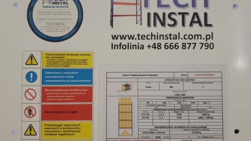 Przeglądy regałów magazynowych z Tech - instal
